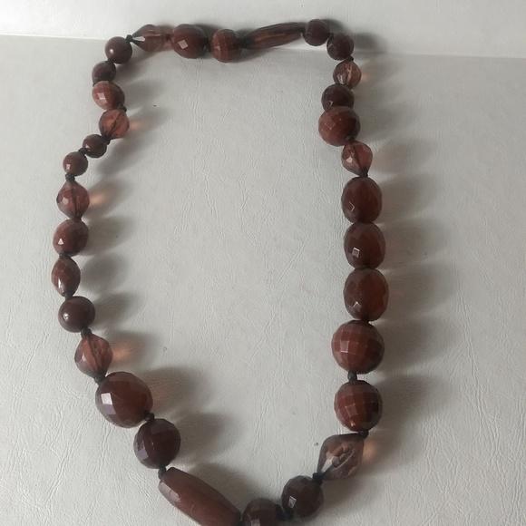 Bakelite Jewelry - Vintage Bakelite Necklace Dark Amber Graduated